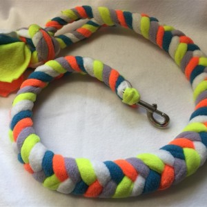 large plaited fleece dog lead